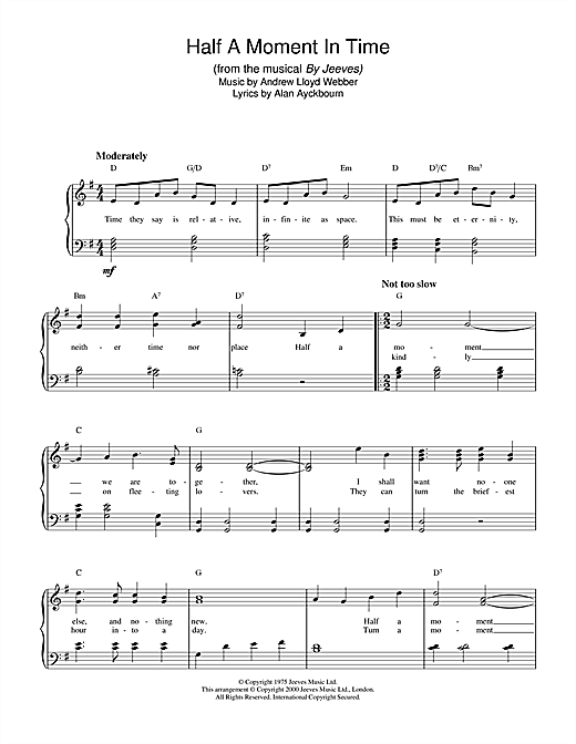 Andrew Lloyd Webber Half A Moment In Time (from By Jeeves) sheet music notes and chords. Download Printable PDF.