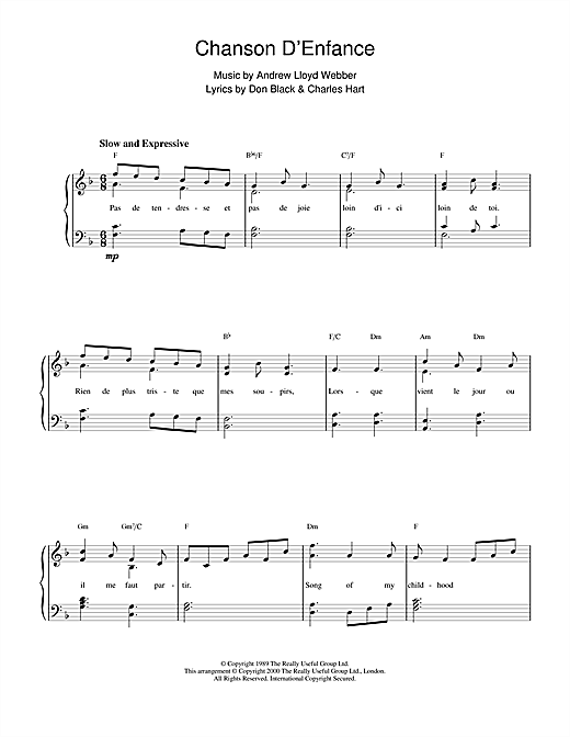 Andrew Lloyd Webber Chanson D'Enfance (from Aspects Of Love) sheet music notes and chords. Download Printable PDF.