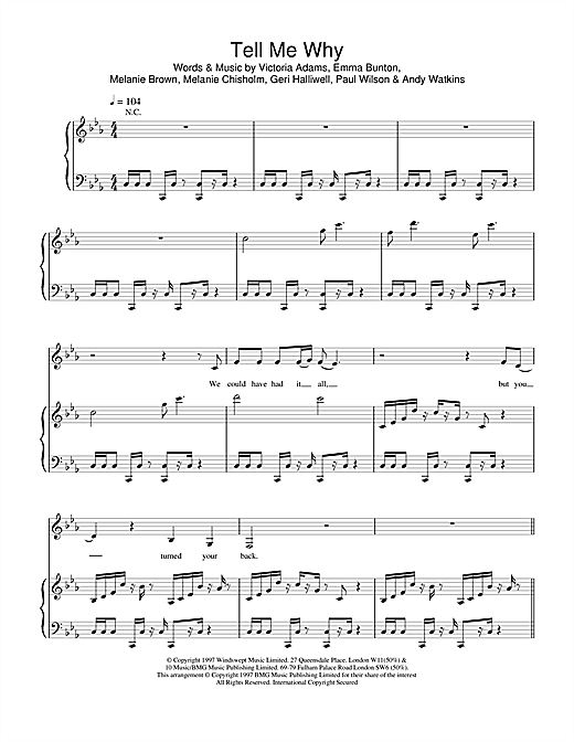 The Spice Girls Tell Me Why sheet music notes and chords. Download Printable PDF.