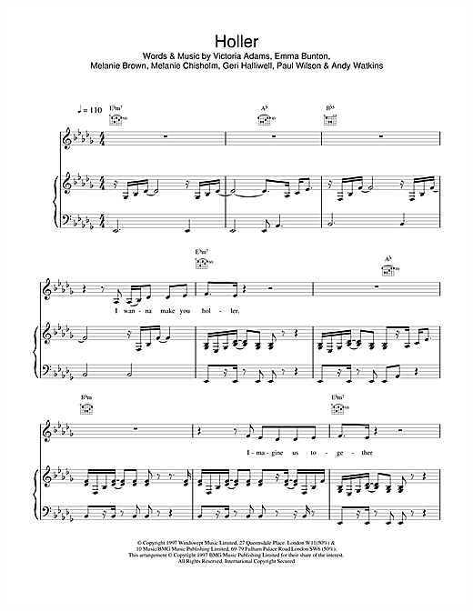 The Spice Girls Holler sheet music notes and chords. Download Printable PDF.
