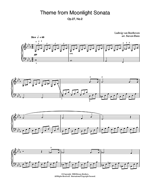 Ludwig van Beethoven Moonlight Sonata, 1st Movement, Op.27, No.2 sheet music notes and chords. Download Printable PDF.