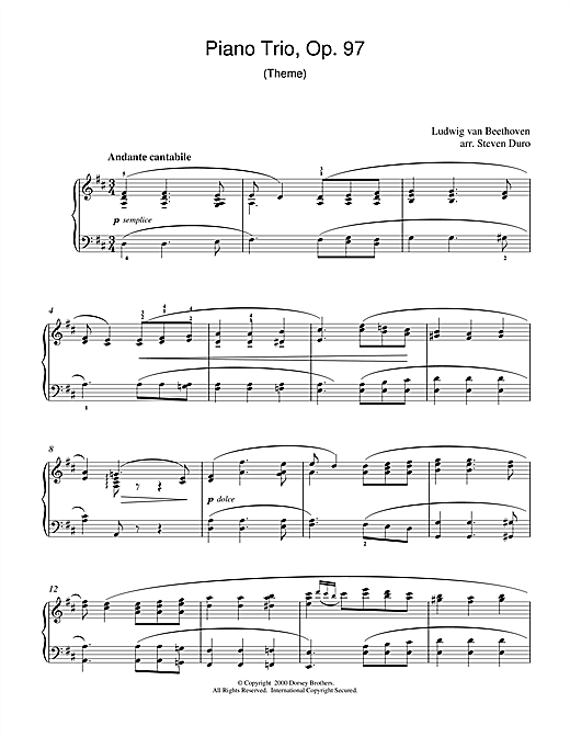 Ludwig van Beethoven Piano Trio Opus 97 sheet music notes and chords. Download Printable PDF.