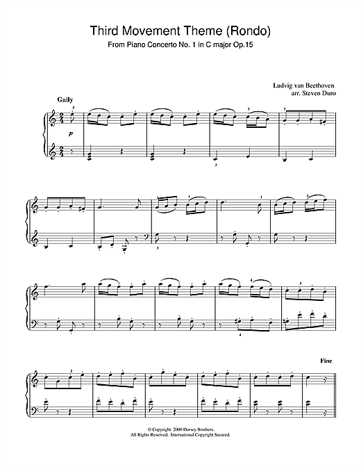 Ludwig van Beethoven Piano Concerto No.1 in C Major Op.15, Rondo sheet music notes and chords. Download Printable PDF.