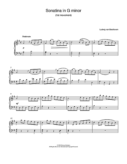 Ludwig van Beethoven Sonatina In G 1st Movement sheet music notes and chords. Download Printable PDF.