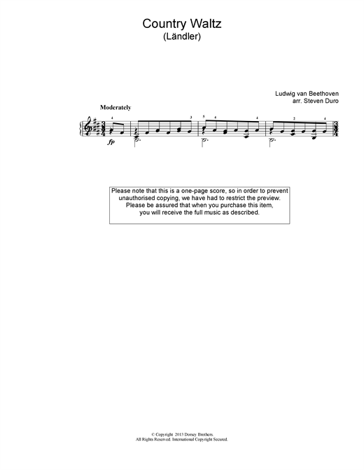 Ludwig van Beethoven Country Waltz (Ländler ) sheet music notes and chords. Download Printable PDF.