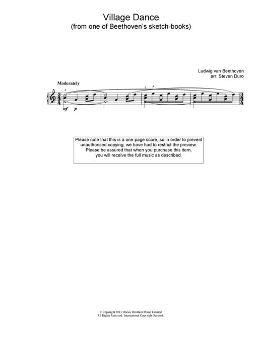 Ludwig van Beethoven Village Dance sheet music notes and chords. Download Printable PDF.
