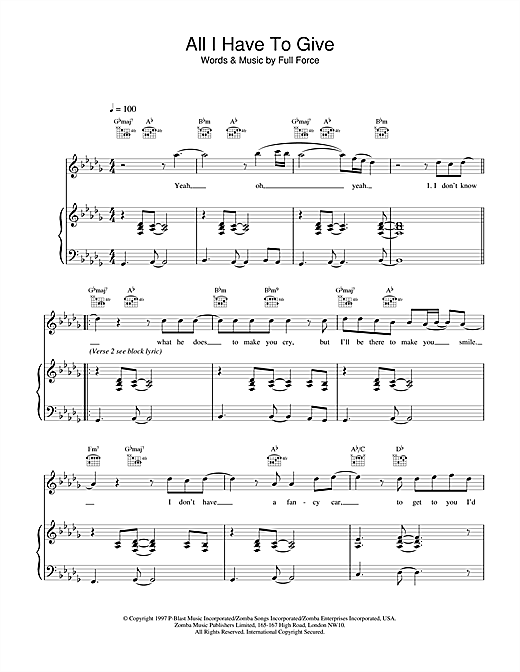 Backstreet Boys All I Have To Give sheet music notes and chords. Download Printable PDF.
