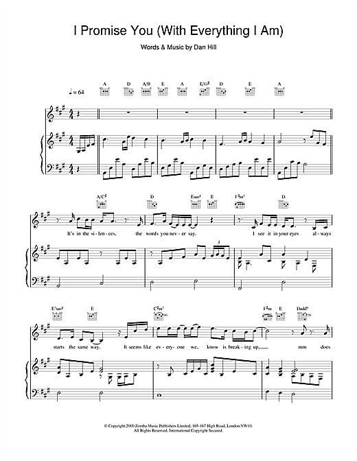 Backstreet Boys I Promise You sheet music notes and chords. Download Printable PDF.