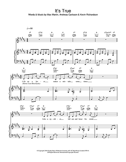 Backstreet Boys It's True sheet music notes and chords. Download Printable PDF.