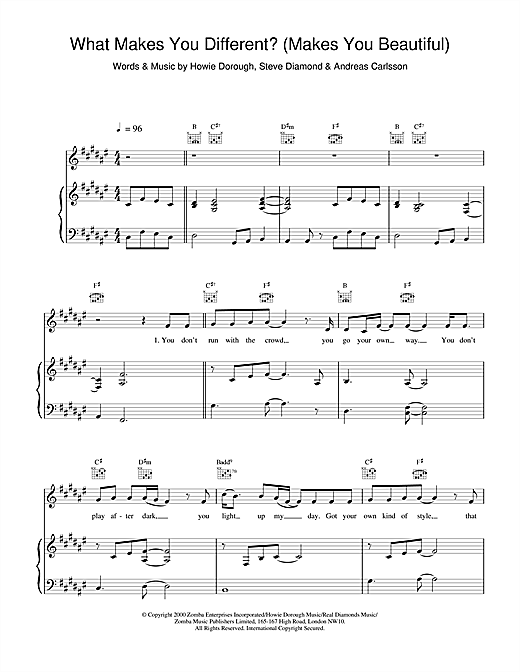Backstreet Boys What Makes You Different? (Makes You Beautiful) sheet music notes and chords. Download Printable PDF.