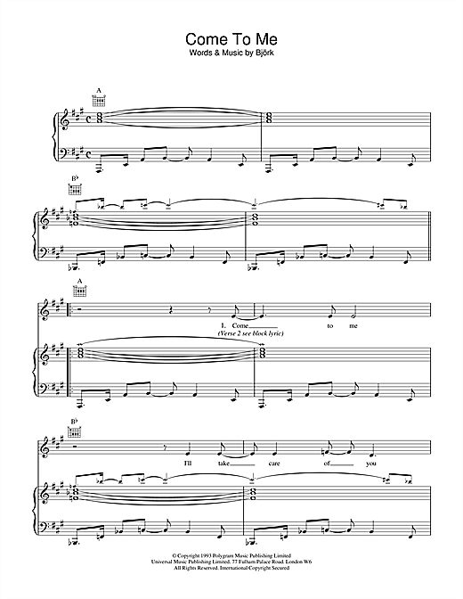 Bjork Come To Me sheet music notes and chords. Download Printable PDF.