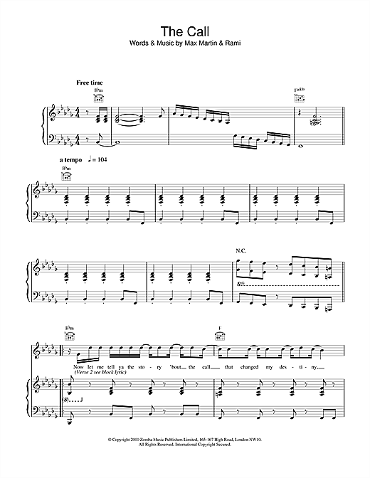 Backstreet Boys The Call sheet music notes and chords. Download Printable PDF.