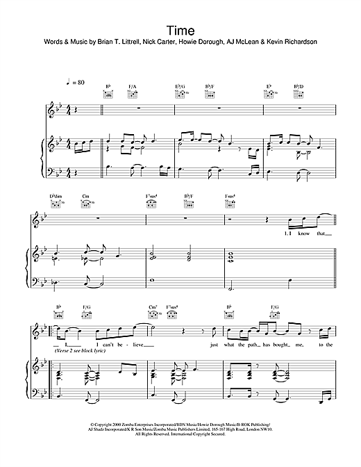 Backstreet Boys Time sheet music notes and chords. Download Printable PDF.