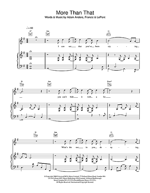 Backstreet Boys More Than That sheet music notes and chords. Download Printable PDF.