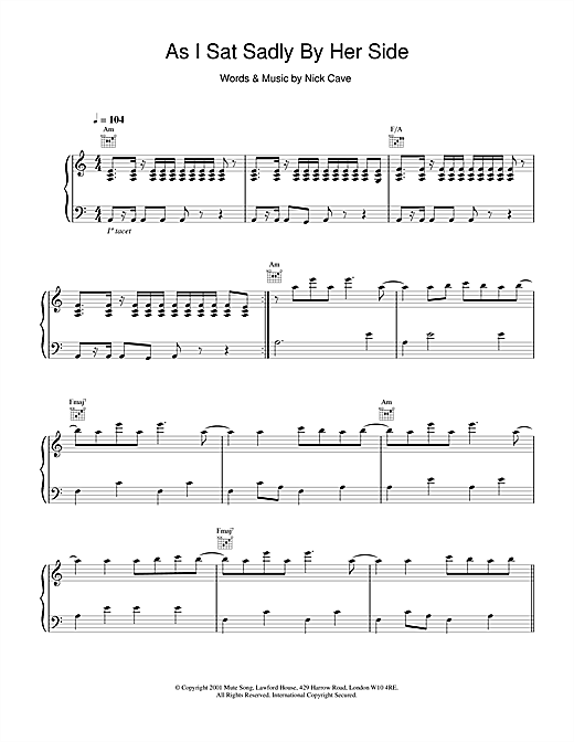 Nick Cave As I Sat Sadly By Her Side sheet music notes and chords. Download Printable PDF.