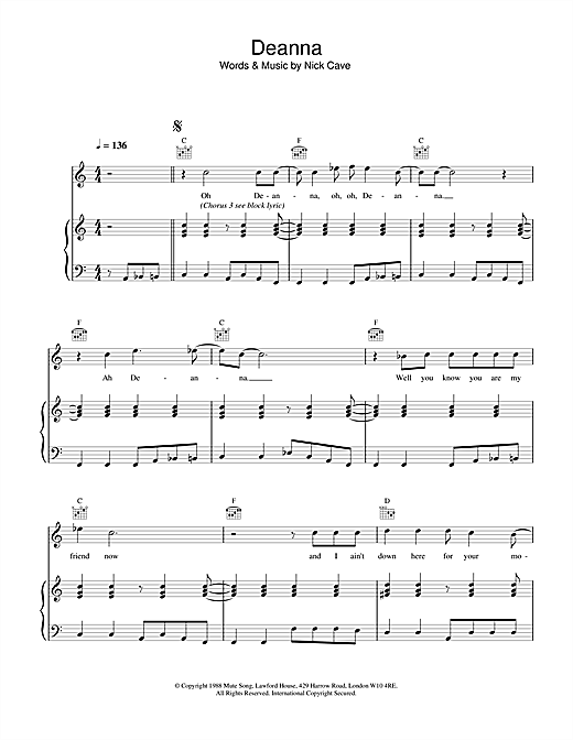 Nick Cave Deanna sheet music notes and chords. Download Printable PDF.