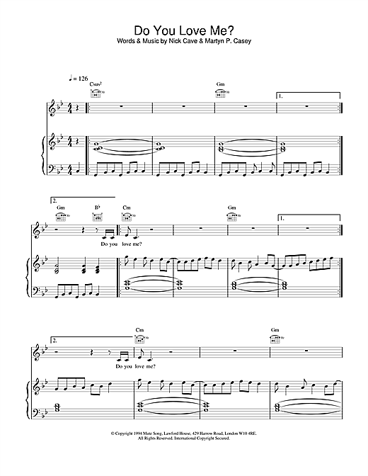 Nick Cave Do You Love Me? sheet music notes and chords. Download Printable PDF.