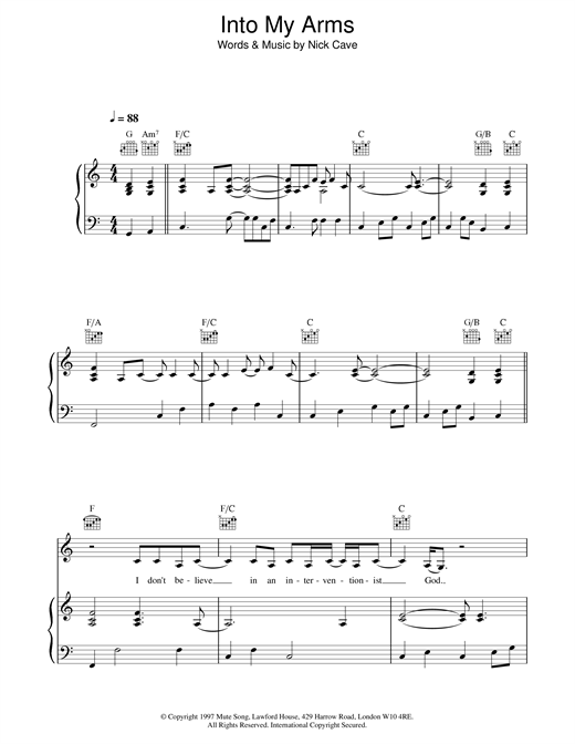 Nick Cave Into My Arms sheet music notes and chords. Download Printable PDF.