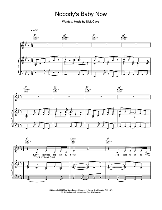 Nick Cave Nobody's Baby Now sheet music notes and chords. Download Printable PDF.
