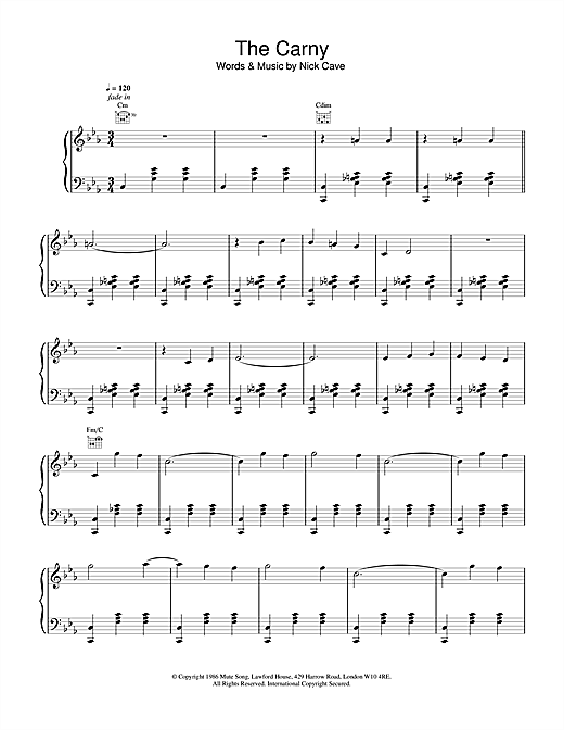 Nick Cave The Carney sheet music notes and chords. Download Printable PDF.