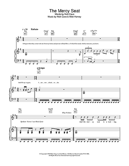 Nick Cave The Mercy Seat sheet music notes and chords. Download Printable PDF.