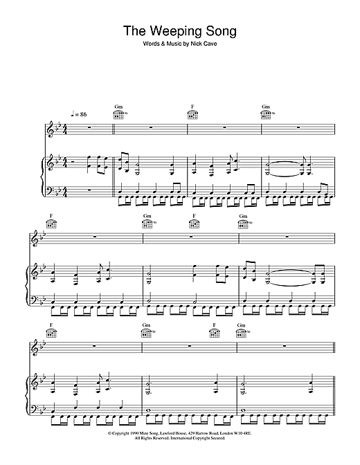 Nick Cave The Weeping Song sheet music notes and chords. Download Printable PDF.