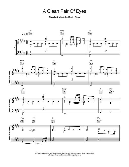 David Gray A Clean Pair Of Eyes sheet music notes and chords. Download Printable PDF.