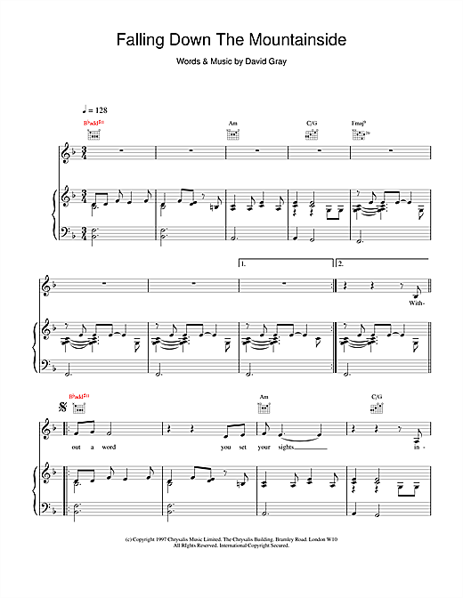 David Gray Falling Down The Mountainside sheet music notes and chords. Download Printable PDF.