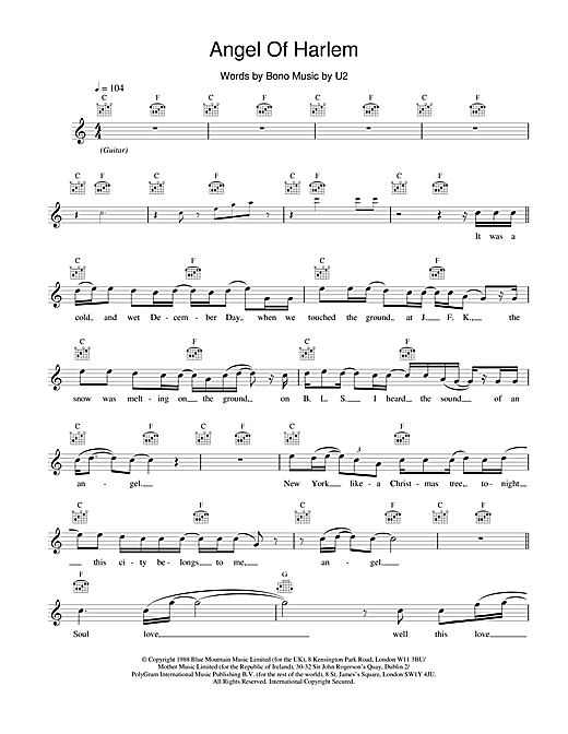 U2 Angel Of Harlem sheet music notes and chords. Download Printable PDF.
