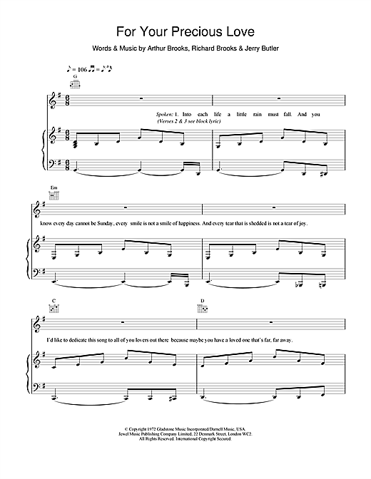 James Brown For Your Precious Love sheet music notes and chords. Download Printable PDF.