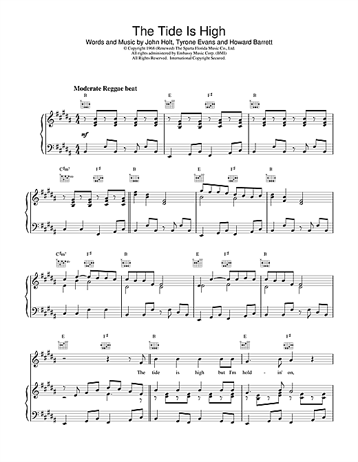 Blondie The Tide Is High sheet music notes and chords. Download Printable PDF.