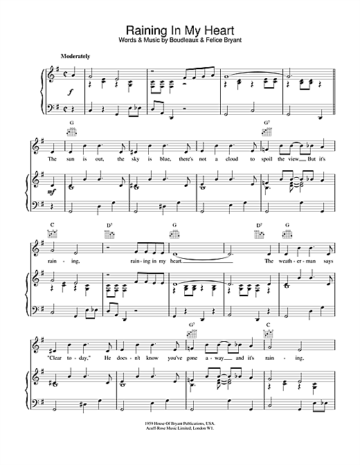 Roy Orbison Raining In My Heart sheet music notes and chords. Download Printable PDF.