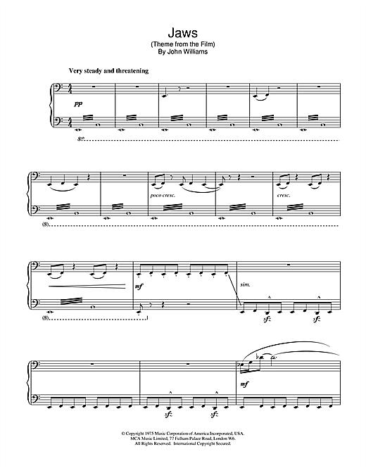 John Williams Jaws (Theme from the Film) sheet music notes and chords. Download Printable PDF.
