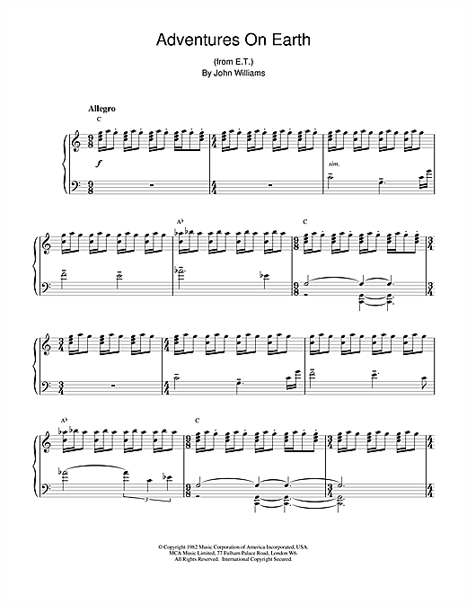 John Williams Adventures On Earth (from E.T. The Extra-Terrestrial) sheet music notes and chords. Download Printable PDF.