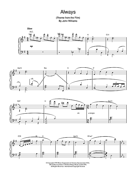 John Williams Always sheet music notes and chords. Download Printable PDF.