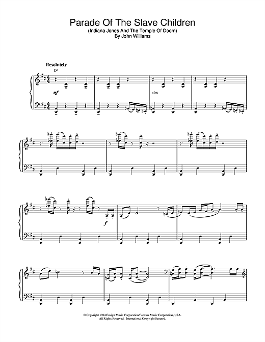 John Williams Parade Of The Slave Children (from Indiana Jones And The Temple Of Doom) sheet music notes and chords. Download Printable PDF.