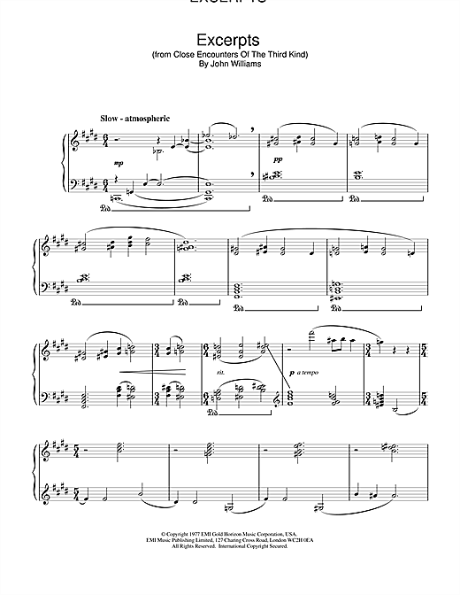 John Williams Excerpts (from Close Encounters Of The Third Kind) sheet music notes and chords. Download Printable PDF.