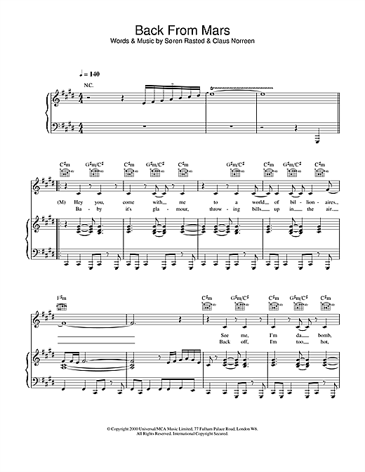 Aqua Back From Mars sheet music notes and chords. Download Printable PDF.