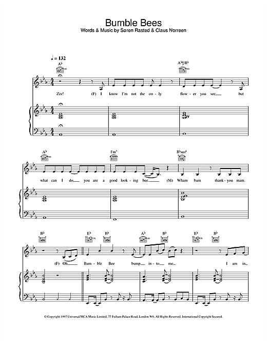 Aqua Bumble Bees sheet music notes and chords. Download Printable PDF.