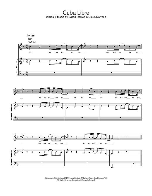 Aqua Cuba Libre sheet music notes and chords. Download Printable PDF.