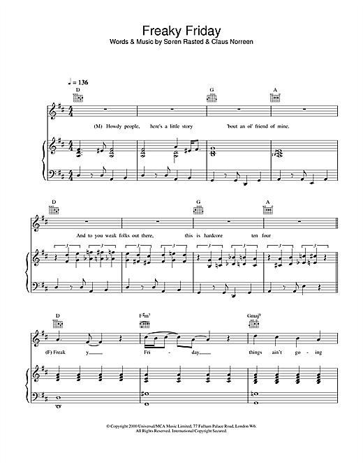Aqua Freaky Friday sheet music notes and chords. Download Printable PDF.