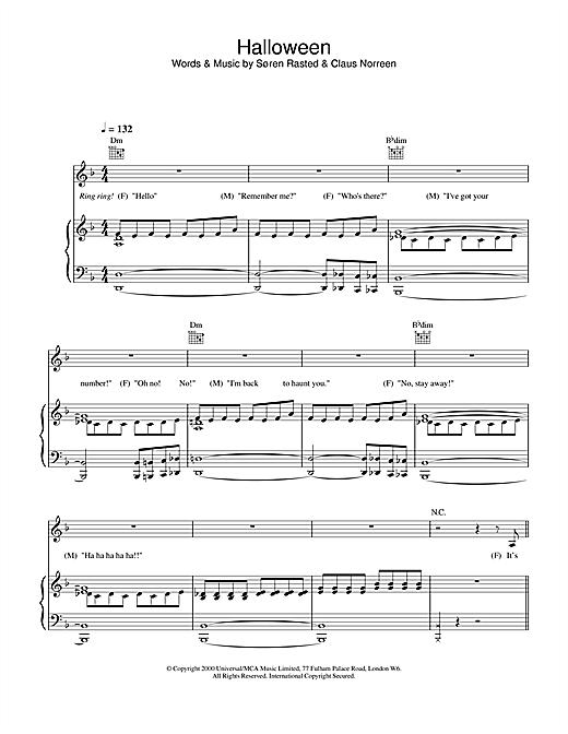 Aqua Halloween sheet music notes and chords. Download Printable PDF.