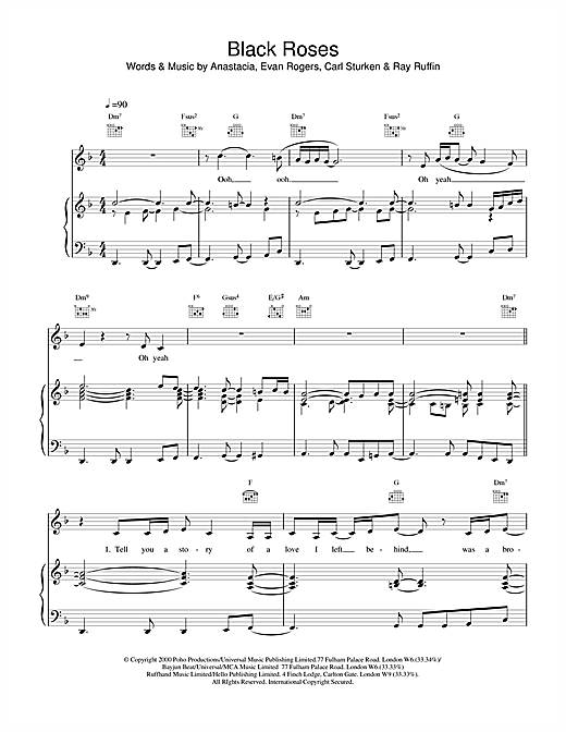 Anastacia Black Roses sheet music notes and chords. Download Printable PDF.