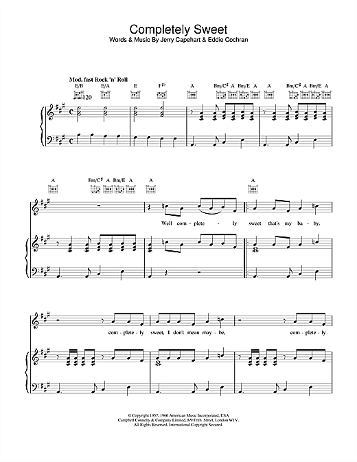 Eddie Cochran Completely Sweet sheet music notes and chords. Download Printable PDF.