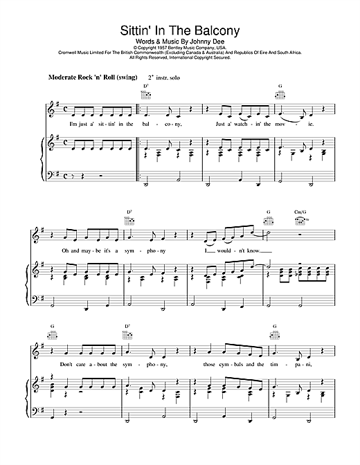 Eddie Cochran Sittin' In The Balcony sheet music notes and chords. Download Printable PDF.