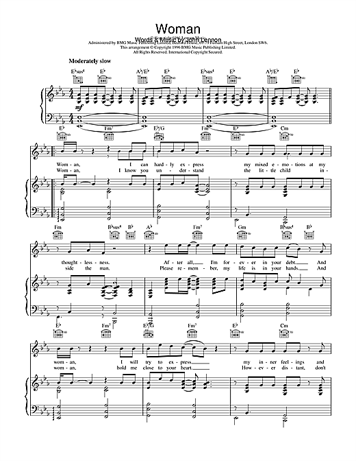 John Lennon Woman sheet music notes and chords. Download Printable PDF.