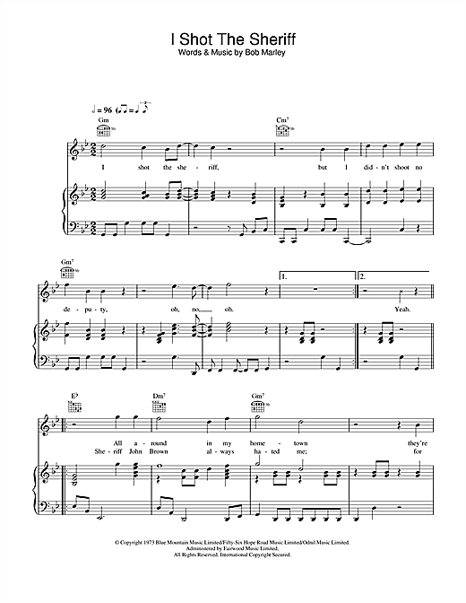 Warren G I Shot The Sherrif sheet music notes and chords. Download Printable PDF.