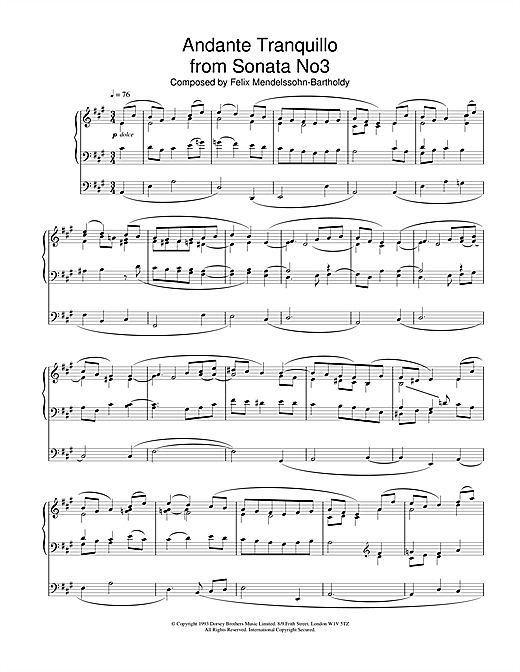 Felix Mendelssohn Andante Tranquillo From Sonata No.3 sheet music notes and chords. Download Printable PDF.