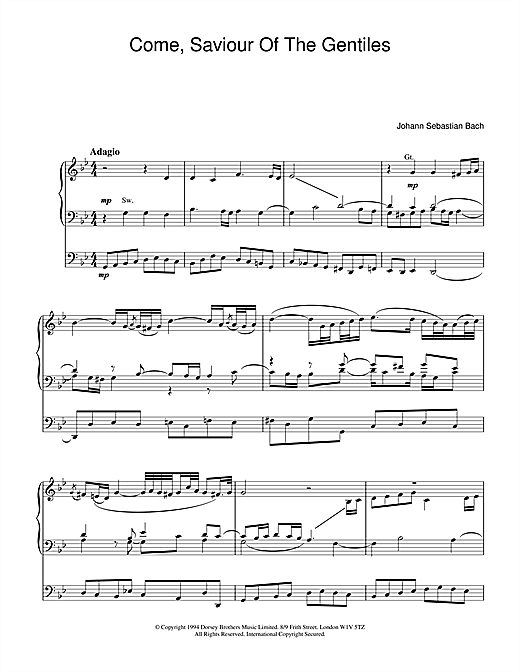 J.S. Bach Come, Saviour Of The Gentiles sheet music notes and chords. Download Printable PDF.
