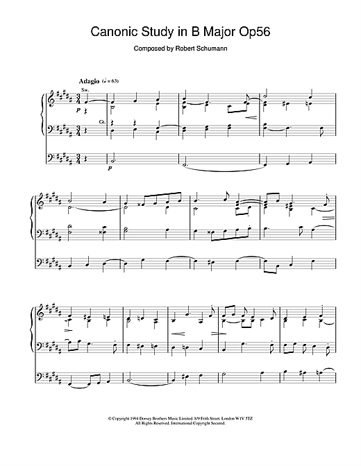 Robert Schumann Canonic Study in B Major Op56 sheet music notes and chords. Download Printable PDF.
